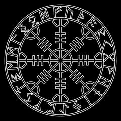 God Wotan, and two ravens. Illustration of Norse mythology