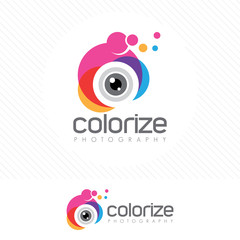 Colorful photography logo with Modern style of camera lens .