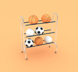 group of sports balls