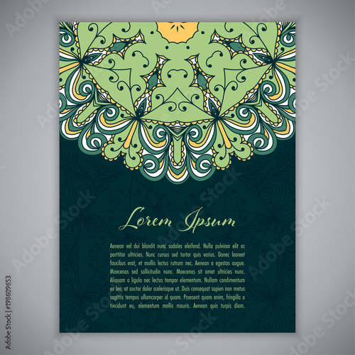 greeting card invitation or flyer template with ethnic mandala