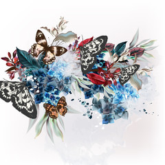 Butterfly design illustration in vintage floral style