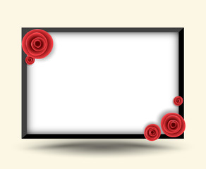 Rectangle frame with rose for photo frame