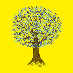 Abstract tree on a yellow background. Detailed vector illustration of a stylized tree with roots, branches and leaves.