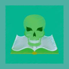 flat shading style icon book skull
