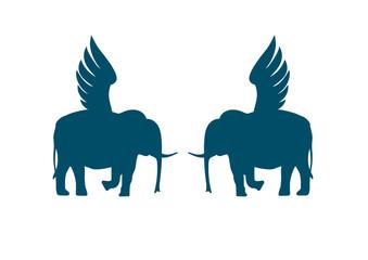 Two winged elephants.