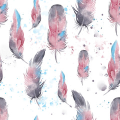 Seamless  feathers pattern, watercolor.