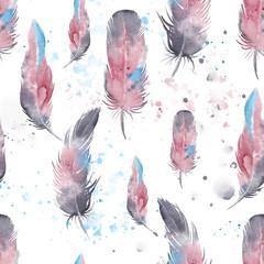 Motif de plumes sans soudure, aquarelle.