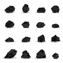 Coal vector cartoon set of flat icons isolated on white background. Illustration of black rock stones, graphite and charcoal.