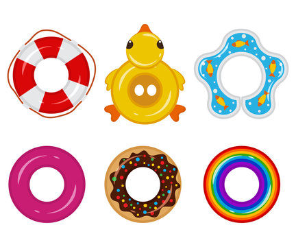 Inflatable float rubber ring for children and adults, for swimming pools, the sea, oceans, rivers, lakes. Life buoy icon top view. Vector set different elements for your design isolated on background.