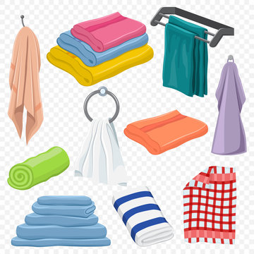 Towels set: hanging, white, beach, roll, for spa, kitchen, bath and others. Vector cartoon icons isolated against a transparent background.
