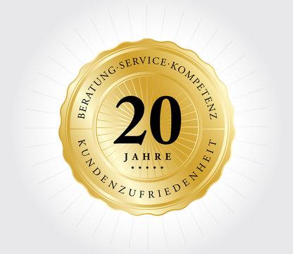 20 Jahre Kundenzufriedenheit Gold