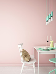 interior design for dining area in vintage style with plant , chair ,table and many props on wood floor and pink wall /3d rendering/3d illustration