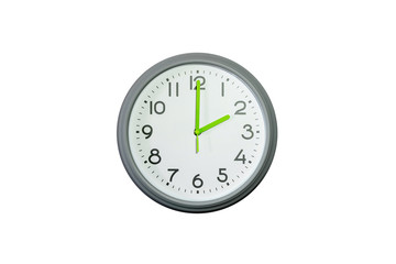Wall clock isolated on white background.two o'clock