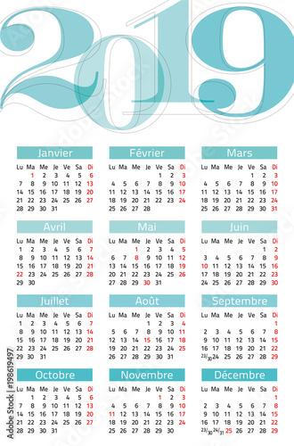 Kalender 2019 Weeknummers