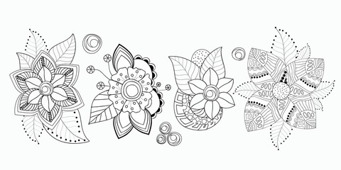 stock vector set of  flolar bouquet oriental or arabic, russia textile design. template for necklace