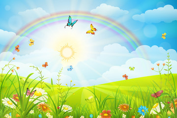 Summer or spring scene with green grass, flowers butterflies and rainbow