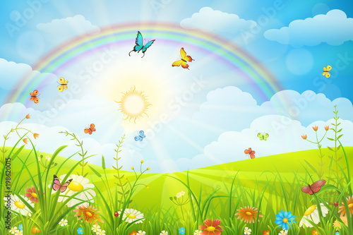 Summer Or Spring Scene With Green Grass Flowers Butterflies And