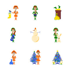 assembly flat shading style illustration Christmas girl snowman Tree gift box