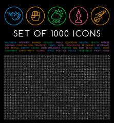 Set of 1000 Isolated Minimal Modern Simple Elegant White Stroke Icons on Circular Buttons on Black Background