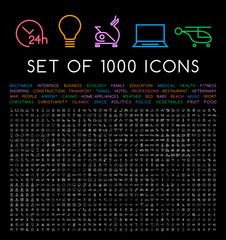 Set of 1000 Isolated Minimal Modern Simple Elegant White Stroke Icons on Black Background