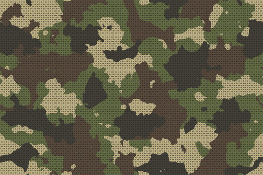 Camouflage seamless pattern with canvas mesh. Trendy style camo, repeat print. Vector illustration.