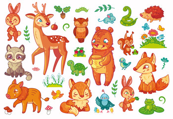 Collection of different cartoon forest animal in vector. Big set for kids.