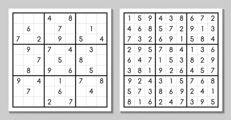 Vector sudoku with the answer. Puzzle