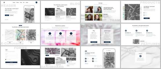 Set of vector templates for website design, minimal presentations, portfolio. Simple elements on white background. Templates for presentation slides, flyer, leaflet, brochure cover, annual report