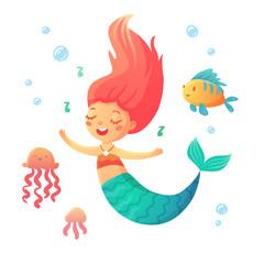 Cute singing mermaid in cartoon style. Fairytale illustration for kids in vector.