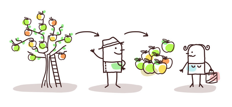 Cartoon Farmer Apples Production and Direct Consumer