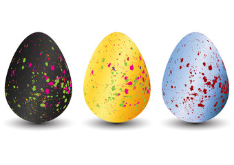 set of easter eggs with different texture isolate background . spring holiday. happy easter egg. Vector Illustration design