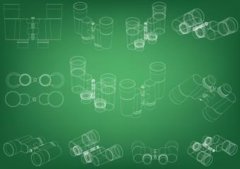 Binoculars on a green