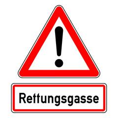 ncsc50 NewCombinationSignCaution ncsc - Achtung - Ausrufezeichen / dreieckig - german text: Rettungsgasse bilden - english: form a rescue lane - Warning - exclamation point / triangular - xxl g5953