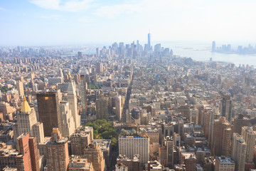 Panoramic view of Midtown and Lower Manhattan as seen from the Empire State Building observation deck