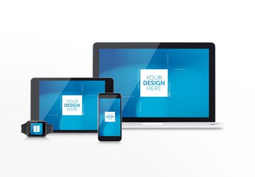 Multiple Devices web design Mockup on White Background
