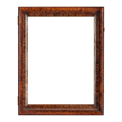 Dark brown natural color empty wooden picture frame. Isolated over white background