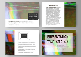 Business templates for presentation slides. Easy editable abstract vector layouts in flat design. Glitched background made of colorful pixel mosaic. Digital decay, signal error, television fail.