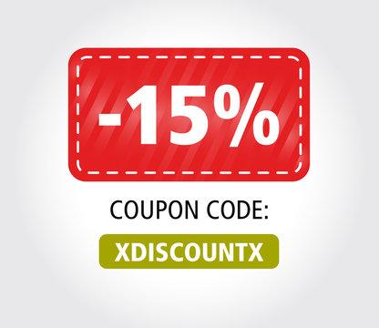 15 Discount Coupon Vector