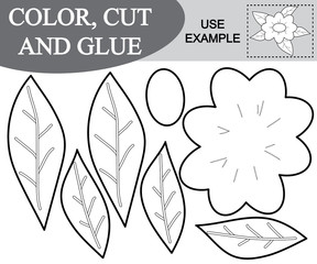 Color, cut and glue the image of flower cartoon. Educational game for children.
