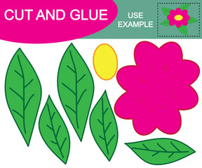 "Flower cartoon. Activity for children. Paper game ""Cut and glue"". Education."