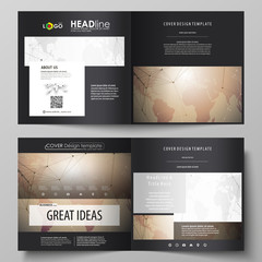 The black colored vector illustration of the editable layout of two covers templates for square design brochure, flyer, booklet. Global network connections, technology background with world map.