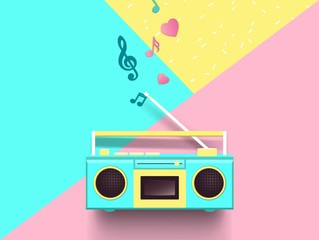 Radio and music notes on colorful background. Top view. Vector illustration