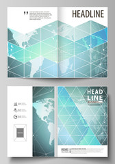 The vector illustration of the editable layout of two A4 format modern cover mockups design templates for brochure, magazine, flyer. Chemistry pattern, molecule structure, geometric design background.