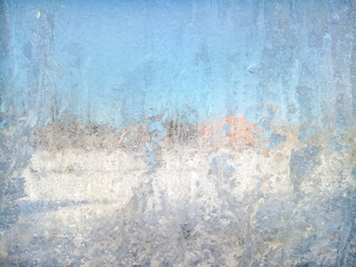 Sunny frozen window. Abstract background.
