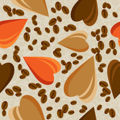 Hearts and coffee beans on a light background. seamless texture . Fabric, menu, cafeteria.Vector illustration. Eps 10.