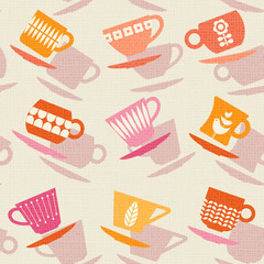 Seamless retro pattern of tea cups or coffee cups.  vector illustration.