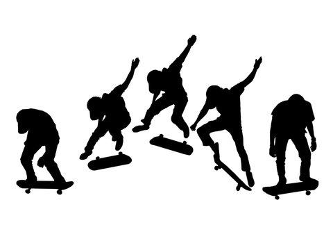silhouette set of men skateboard on white background