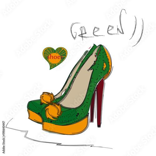 Dark green and dark yellow high heel shoes