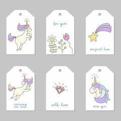 Set of tags with cute unicorns.
