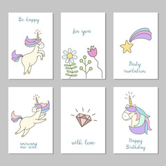 Set of cards with cute unicorns.